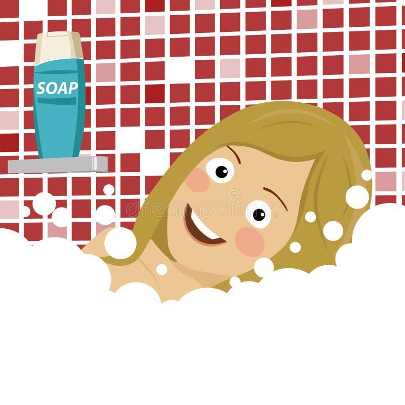Schöne junge Blondine, die angenehmes Bad mit dem Schaum, liegend genießen stock abbildung