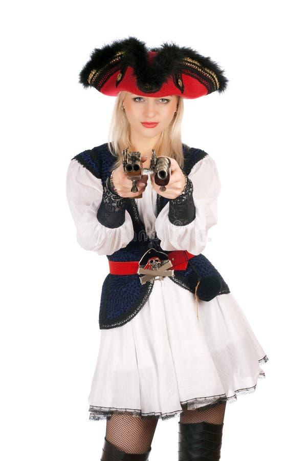 Schöne junge Blondine mit Gewehren lizenzfreie stockfotos