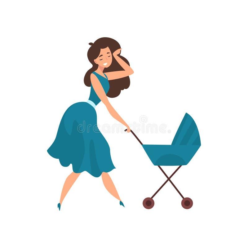 Schöne junge brunette Frau im blauen Kleid gehend mit ihrem neugeborenen Baby in einem Pram, Erziehnungskonzeptvektor vektor abbildung
