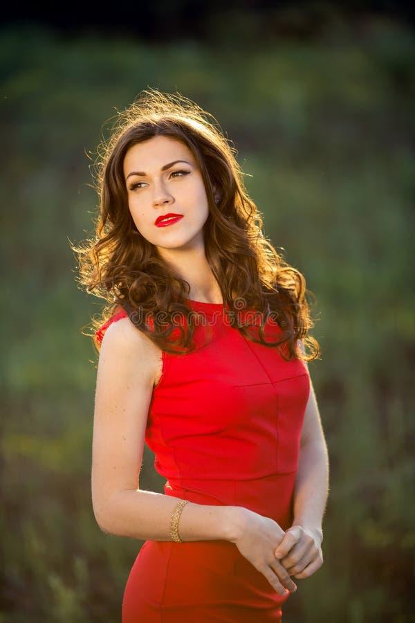 Schöne junge Brunettefrau, die gegen Hintergrund des grünen Grases steht stockfoto