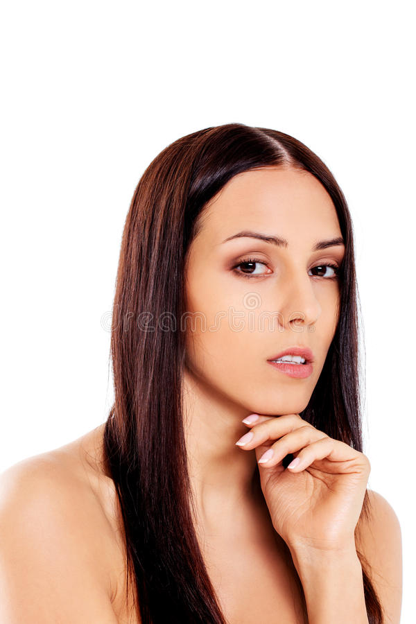 Schöne junge dünne schulterfreie Frau lizenzfreie stockfotos