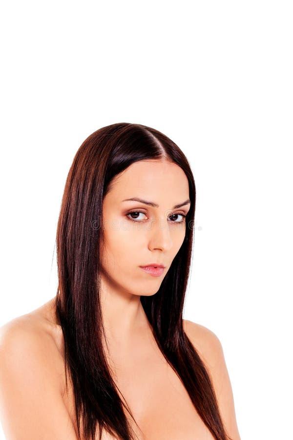 Schöne junge dünne schulterfreie Frau stockfotos