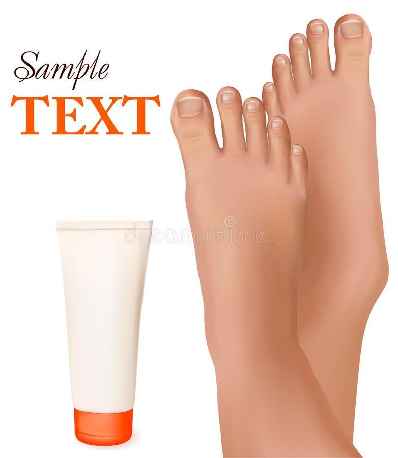 Schöne junge Füße mit Creme für den Körper. stock abbildung