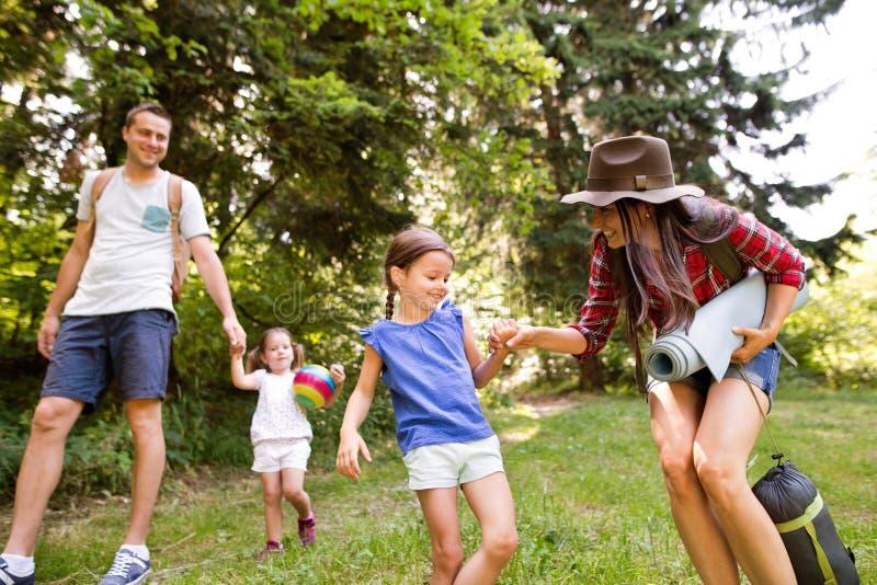 Schöne junge Familie mit dem gehenden Kampieren der Töchter im Wald stockfotos