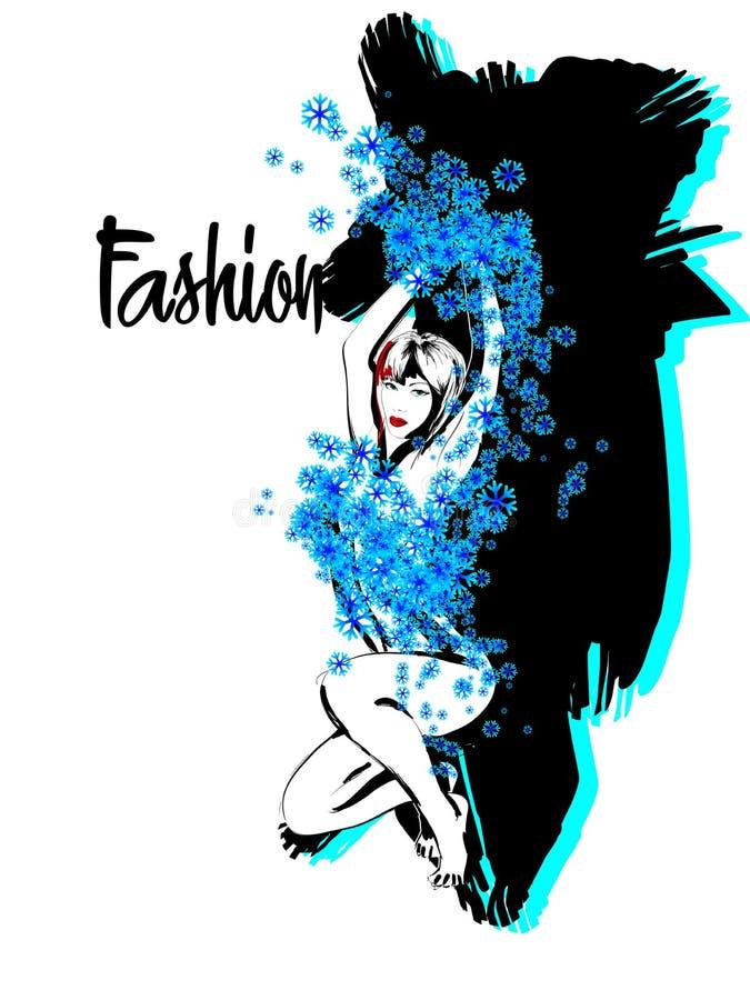 Schöne junge Frau der Mode gekleidet in den Schneeflocken vektor abbildung