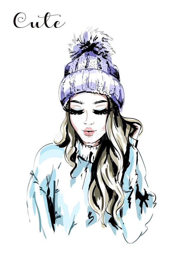 Schöne junge Frau in der Strickmütze mit Pelz Pom-Pom lizenzfreie abbildung
