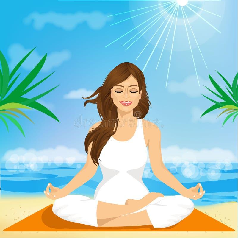 Schöne junge Frau, die in der Yogahaltung sitzt lizenzfreie abbildung
