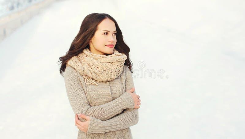 Schöne junge Frau, die eine Strickjacke und einen Schal im Winter trägt stockfoto