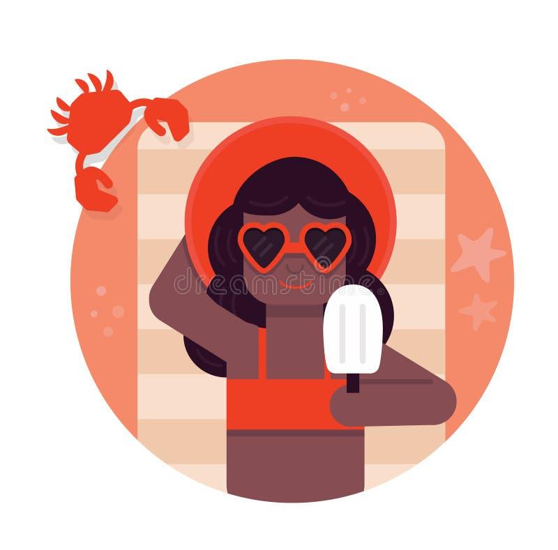 Schöne junge Frau, die mit Sonnenbrille am Strand, Retrostil sich bräunt lizenzfreie abbildung