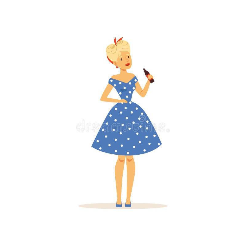 Schöne junge Frau in einem blauen Tupfenkleid, das Glasflasche Soda hält, Mädchen kleidete im Retrostilvektor an stock abbildung