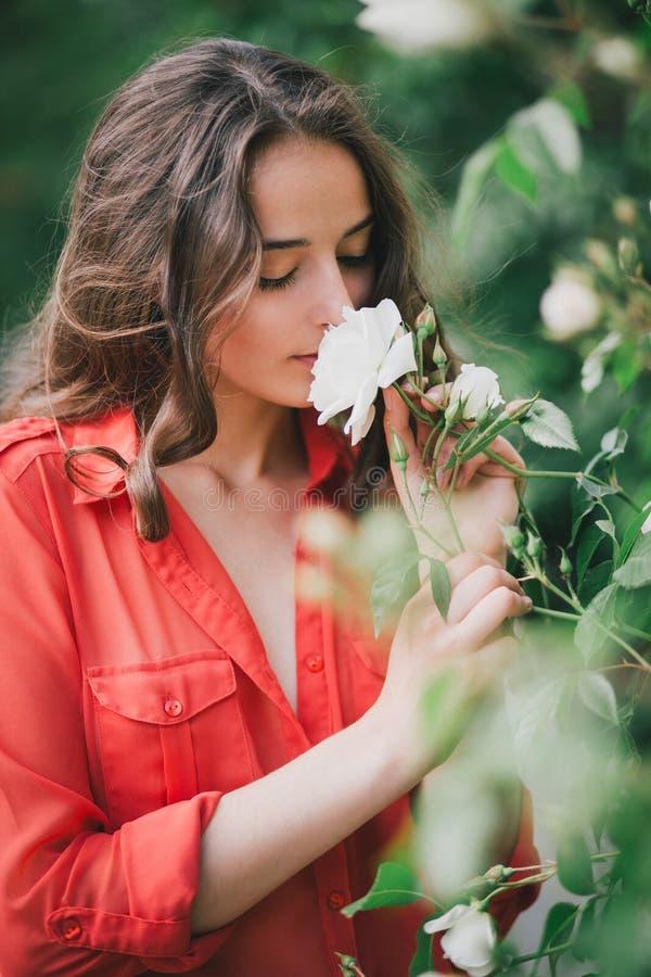 Schöne junge Frau in einem roten Hemd, das eine Rose riecht stockbilder