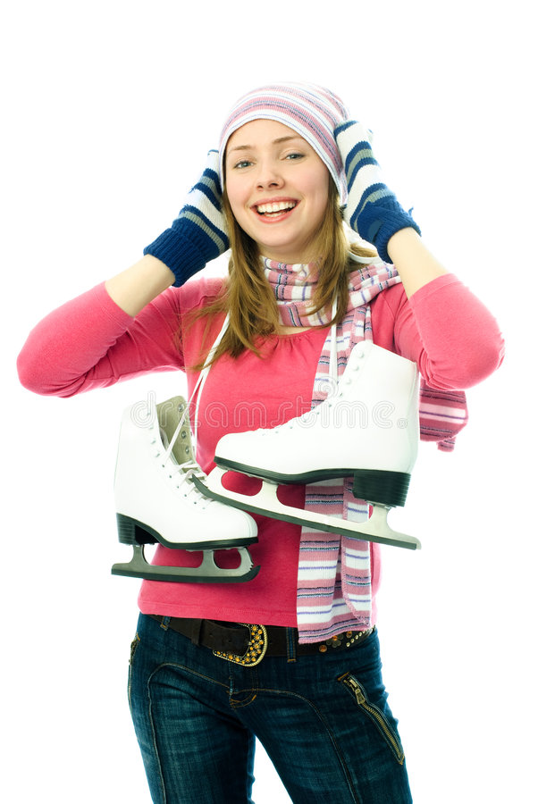 Schöne junge Frau geht Eis-eiszulaufen stockbild