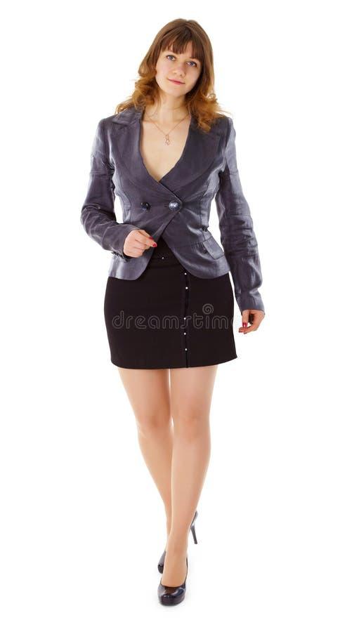 Schöne junge Frau im Anzug stockfotografie