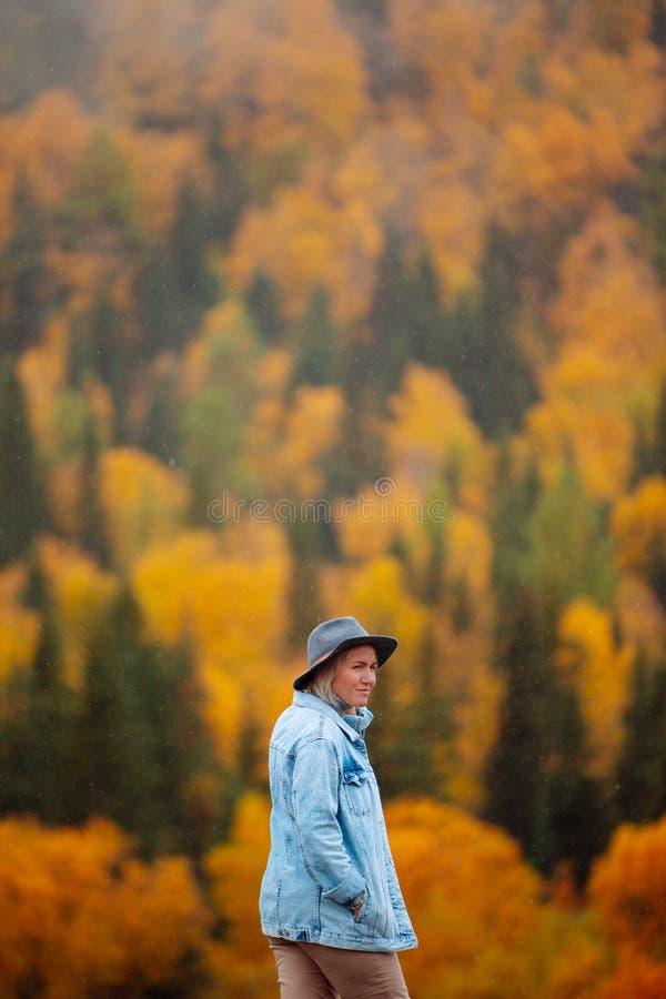 Schöne junge Frau im Hut auf Herbstwaldhintergrund Landschaft im Herbst stockfotografie