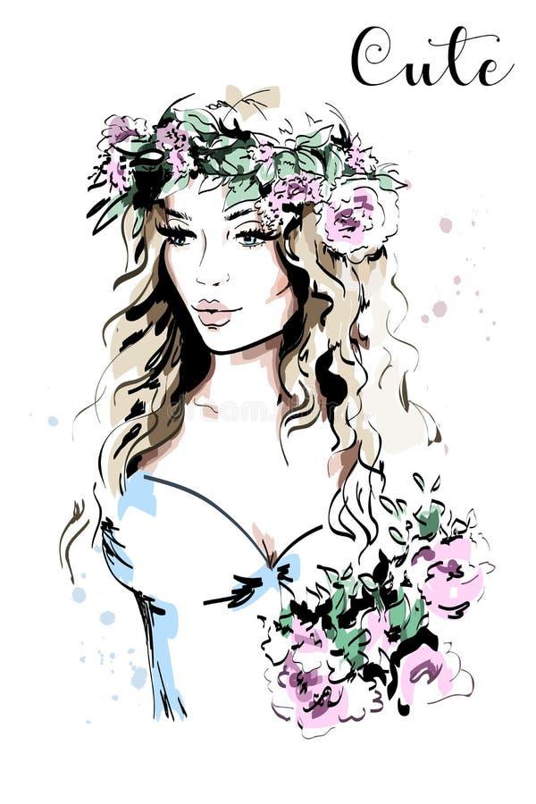 Schöne junge Frau im Kranz Hand gezeichnetes Frauenportrait Art- und Weisedame skizze vektor abbildung