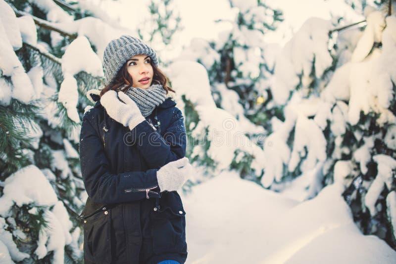 Schöne junge Frau im Park an schneiendem Wintertag lizenzfreies stockfoto