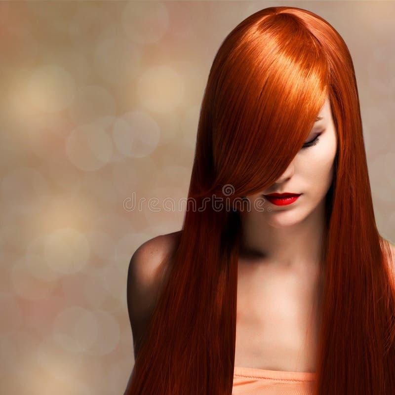 Schöne junge Frau mit dem eleganten langen glänzenden Haar stockfoto