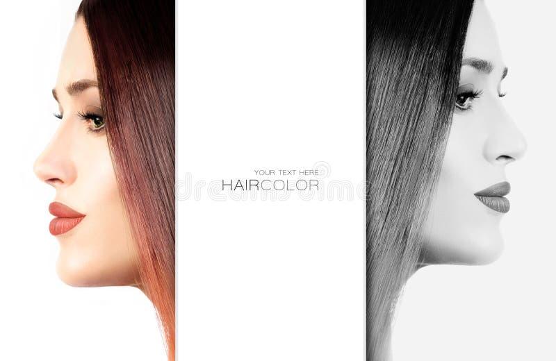 Schöne junge Frau mit dem gefärbten kupferartigen Haar stockbilder