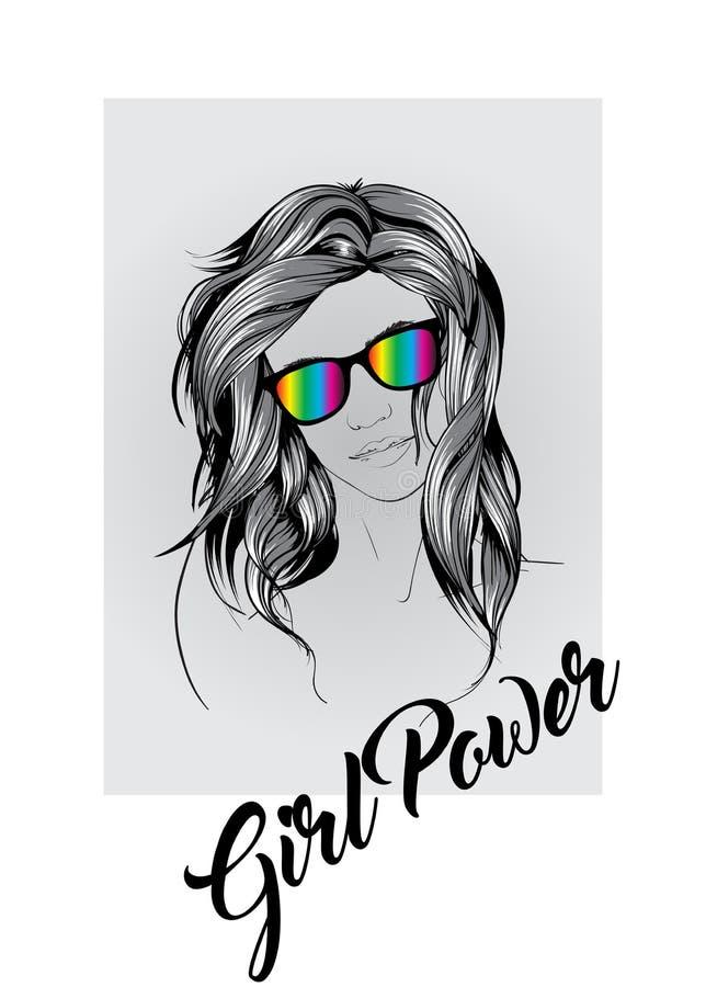Schöne junge Frau mit dem langen Haar in den Regenbogengläsern Art und Weiseskizze Verfassung Face Von Hand gezeichnet Art und We lizenzfreie abbildung