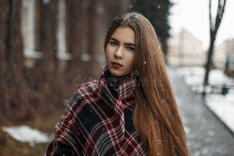 Schöne junge Frau mit einem roten Schal und einem Mantel an einem Wintertag stockbild