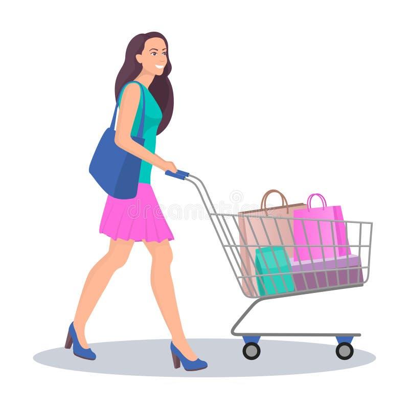 Schöne junge Frau mit Einkaufswagen voll von Paketen mit Käufen Glückliche lächelnde Frau das Einkaufen tun Vektorillustration in vektor abbildung