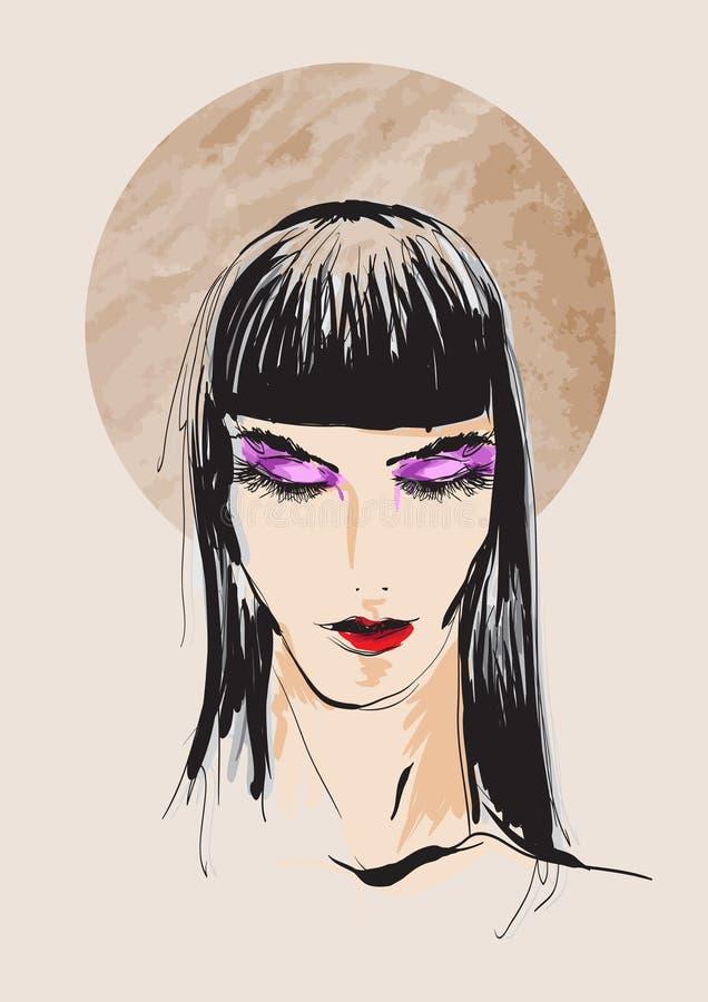 Schöne junge Frau mit Frisur und ausdrucksvollem Blick Art und Weiseskizze Verfassung Face Von Hand gezeichnet Art und Weisebaumu vektor abbildung
