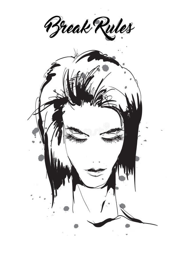 Schöne junge Frau mit Frisur und ausdrucksvollem Blick Art und Weiseskizze Verfassung Face Von Hand gezeichnet Art und Weisebaumu lizenzfreie abbildung