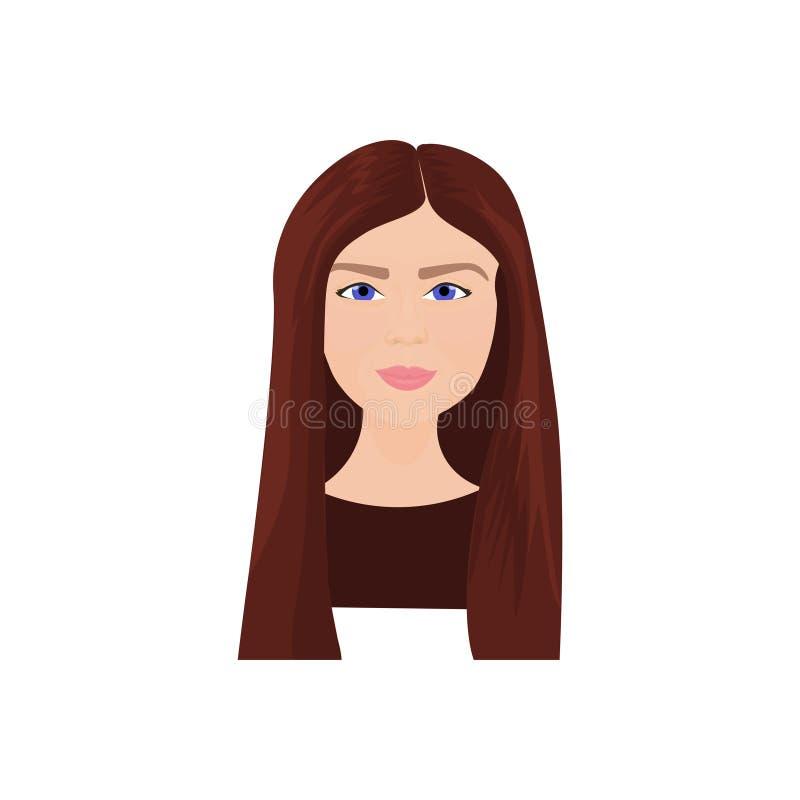 Schöne junge Frau mit langem Brown-Haar lokalisiert auf weißem Hintergrund lizenzfreie abbildung