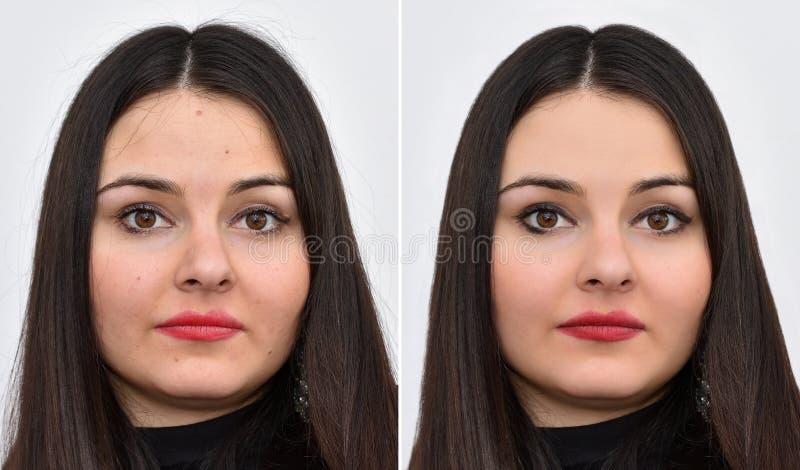 Schöne junge Frau vor und nach dem Anwenden des Makes-up und des Hairstyling lizenzfreies stockfoto