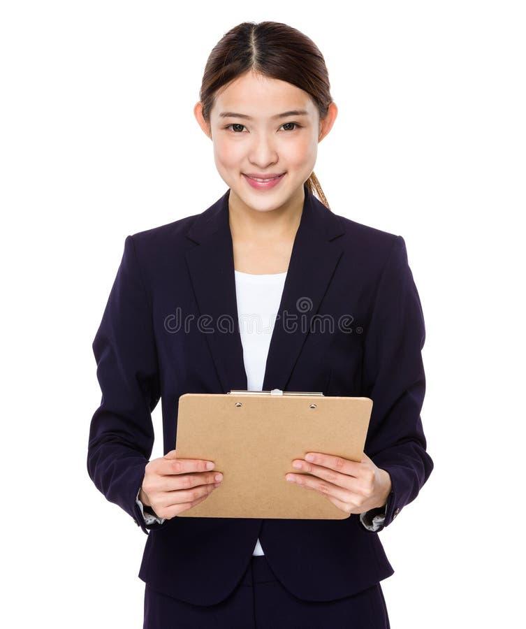 Schöne junge Geschäftsfrau stockfotografie