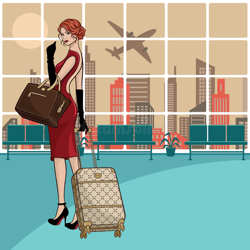 Schöne junge Geschäftsfrau am Flughafen lizenzfreie abbildung
