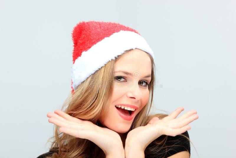 Schöne junge glückliches Weihnachtsfrau stockfotografie