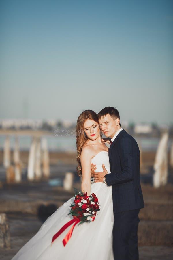 Schöne junge Hochzeitspaare, -braut und -bräutigam, die nahe hölzernen Pfosten auf dem Hintergrundmeer aufwirft lizenzfreie stockfotografie