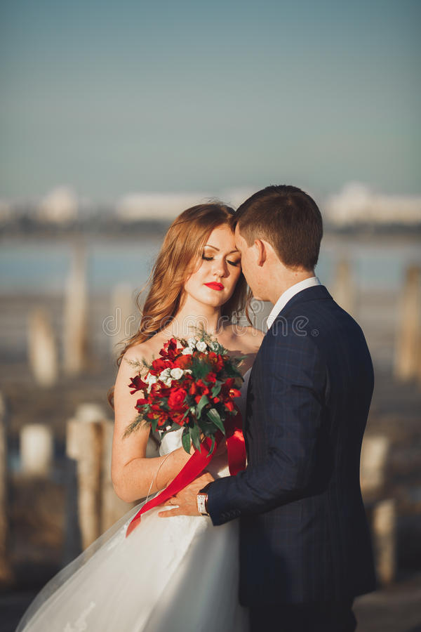 Schöne junge Hochzeitspaare, -braut und -bräutigam, die nahe hölzernen Pfosten auf dem Hintergrundmeer aufwirft lizenzfreie stockbilder