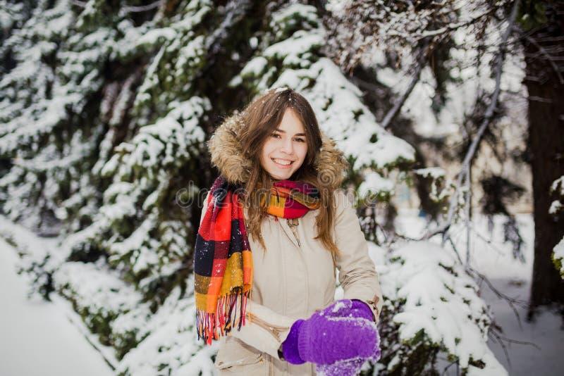 Schöne junge kaukasische Leute haben die Freude am Glück und Spaß im Winter in einem schneebedeckten Wald Sculpt, um Hände herzus lizenzfreies stockbild