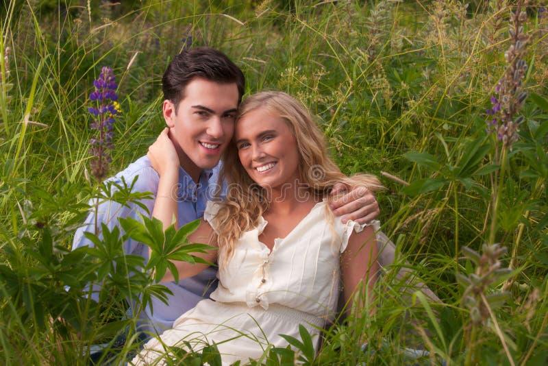 Schöne, junge Paare, die am Picknick umfassen stockbild