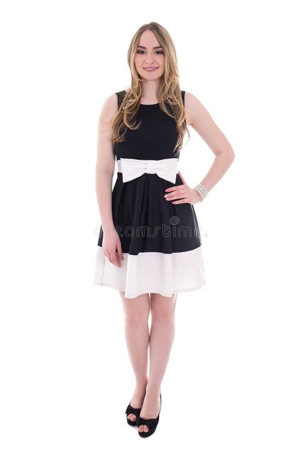 Schöne Junge plus Größenfrau im schwarzen Kleid lokalisiert auf Weiß lizenzfreies stockfoto