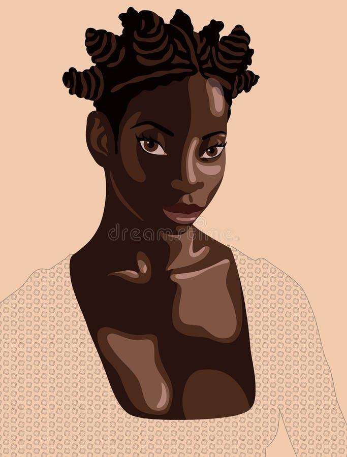 Schöne junge schwarze Frau mit den kleinen Brötchen, die das Kleid hergestellt durch geometrisches Muster tragen vektor abbildung