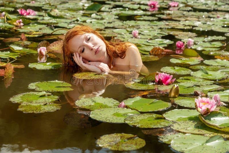 Schöne junge sexy rothaarige Meerjungfraufrau erfreut sinnlich verlockend sich im Wasser, mit rosa Seerosen und Resten auf ihr stockfotografie