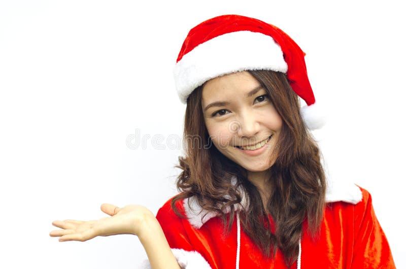 Schöne junge Weihnachtsmann-Frau, stockfotografie