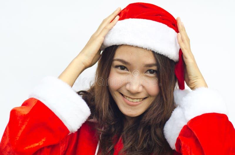 Schöne junge Weihnachtsmann-Frau, stockbilder