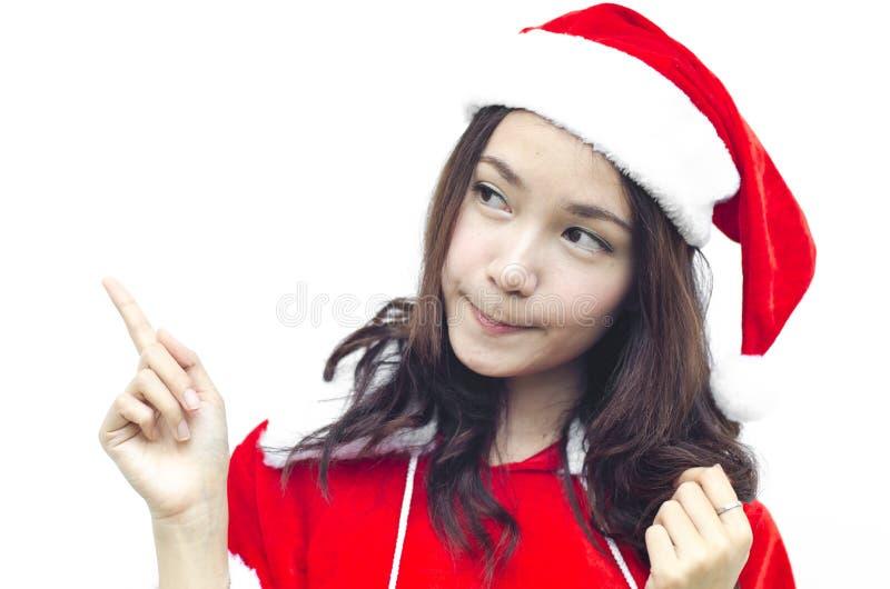 Schöne junge Weihnachtsmann-Frau, lizenzfreies stockfoto