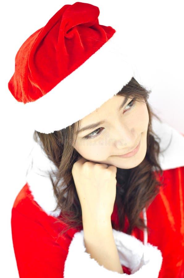 Schöne junge Weihnachtsmann-Frau, stockfotos