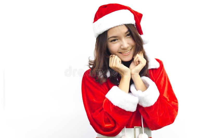 Schöne junge Weihnachtsmann-Frau, getrennt stockfotografie