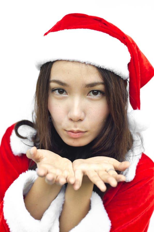 Schöne junge Weihnachtsmann-Frau, getrennt lizenzfreies stockbild