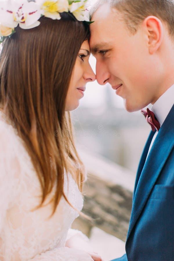 Schöne Jungvermähltenbraut und -bräutigam, die sinnlich Stirnen in stillem berührt, schulden vom Gehören lizenzfreie stockfotos