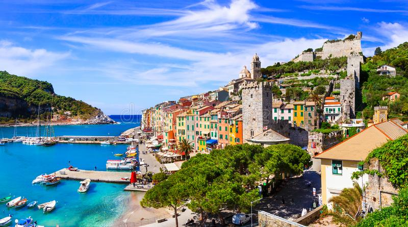 Schöne Küstenstadt Portovenere, Cinque Terre, Italien lizenzfreie stockbilder