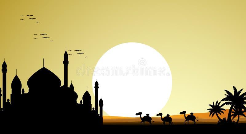 Schöne Kamelreiseschattenbilder mit Moschee und riesigem Mondhintergrund stock abbildung
