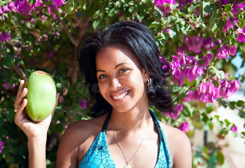 Schöne karibische Brunetteaufstellung stockbilder