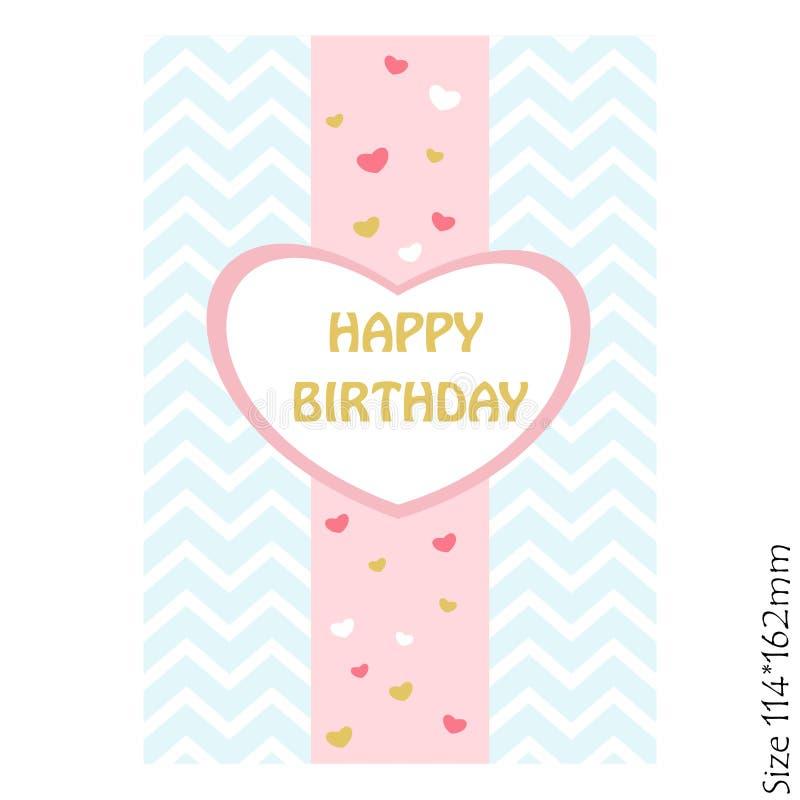 Schöne Karte alles Gute zum Geburtstag Vector Einladung mit Herzen und schönem Pastellhintergrund lizenzfreie abbildung